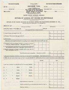 Original 1040 Form, 1913.