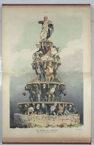 """""""The Making of a Senator"""" (Keppler, 1905) featuring Nelson W. Aldrich being held up by Rockefeller, Big Business, and further down, the Senate. Lastly the People are at the bottom being crushed."""