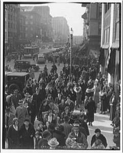 Shopping crowds, date unknown