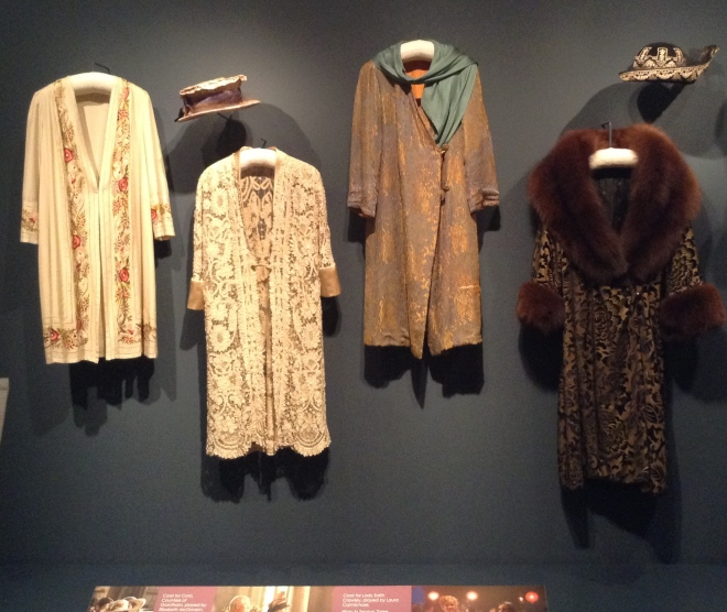 These coats were worn by Cora, Edith and Cora's mother, Martha Levinson (the ostentatious fur was for Martha, of course). Beautiful!