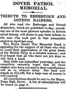 Appeal for the Dover Memorial that appeared in The Times. A list of those who contributed (and the amounts) also appeared in the paper.