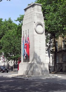 The Cenotaph at Whitehall in London was unveiled in 1920 by King George V.