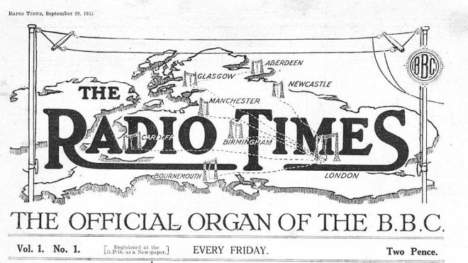 Header from the first issue of the Radio Times, September 28, 1923.