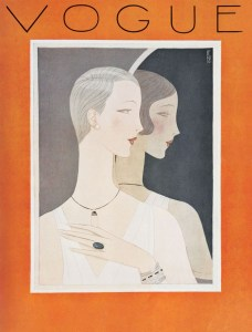 Short hairstyles are prominent in this 1926 Vogue cover by artist Eduardo Benito